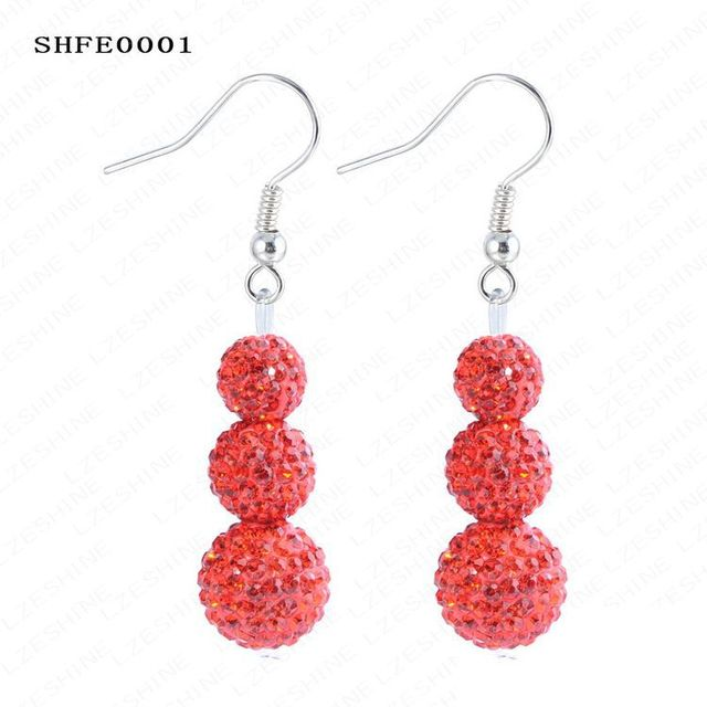 Christmas Ornaments Hot Sale AB Clay Disco Crystal Balls (3pcs) Fashion Shamballa Earrings SHFEmix3