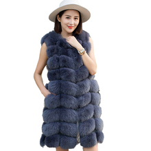 Высококачественный вышитый жилет из лисьего меха, жилет из искусственного меха, длинное осенне-зимнее меховое пальто для женщин