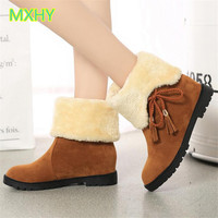 MXHY 2017 Two Way To Wear Women Snow Boots Warm Winter Ankle Boots Female Student Junior