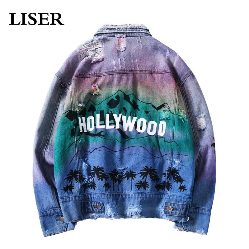 LISER Denim Veste hommes Hip Hop Veste Hollywood Graffiti imprimé graphique lâche Streetwear Harajuku Veste Homme