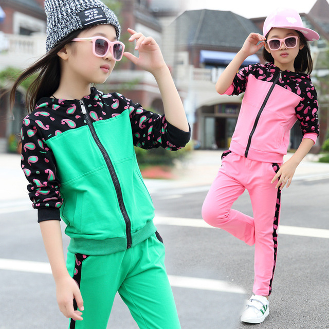 Clothing Sets For Girls Sports Suits Cotton Long Sleeve Kids Tracksuits Patchwork Girl Sportswear Spring & Autumn School Uniform