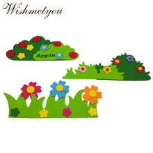 WISHMETYOU Free Felts Cutting Cute Flower Fence Decoration Kids Home Room Grass Appliques Felting Diy Crafts Supplies Stickers