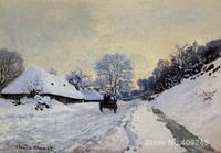 A cart on the snow covered road with saint simeon farm Claude Monet painting for sale oil on canvas Hand painted High quality