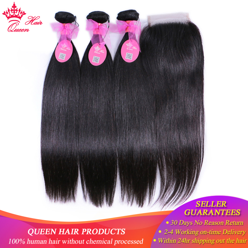 Queen Hair Products 100% Human Hair Brazilian Straight 3 Bundles With - Menneskehår (sort)