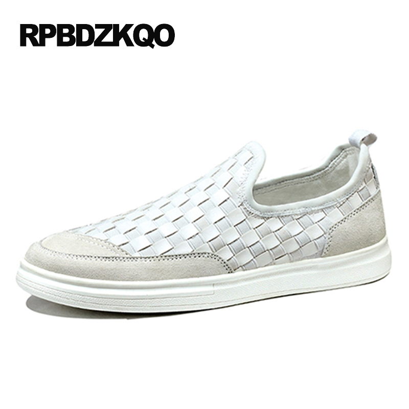 2017 Skate Men Casual Slip-ons Shoes Sneakers Platform White Woven Breathable Spring Black Slip On Lightweight Hot Sale Fashion vik max factory outlet white figure skate shoes two size left ice skate shoes cheap figure skate shoes
