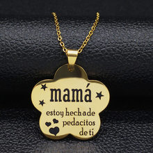 Mama-collar de acero inoxidable para mujer, hecha de pedacitos de ti, collar de cadena de Color dorado, joyería, N18986, 2021