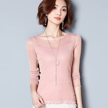Women Sexy Shirt 2018 Spring Summer New Hot Fashion Female Casual Elegant Shirts Blouses Tops Round Collar Gold Silver Yarn(China)