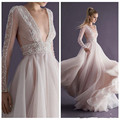 2016 New Plunging V Neck Beading Evening Dresses Paolo Sebastian Backless Long Sleeves See Through Party Gowns
