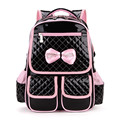 2017 New Cute PU leather orthopedic school backpack for girls mochilas infantil Shoulder bag Backpack Pink/Black Colors