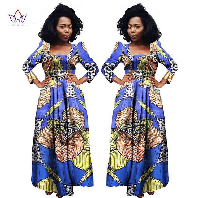 BRW Bazin Riche African Dress Print Dresses With Scarf Short Sleeve Women  Clothing Dashiki African Print Wax Clothes 6XL WY924 1c40cb86c1e6