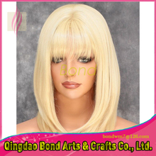 Blonde Color 7A Straight 130% Brazilian Full Lace Human Hair Wig for Women Unprocess Lace Front Wig With Baby Hair