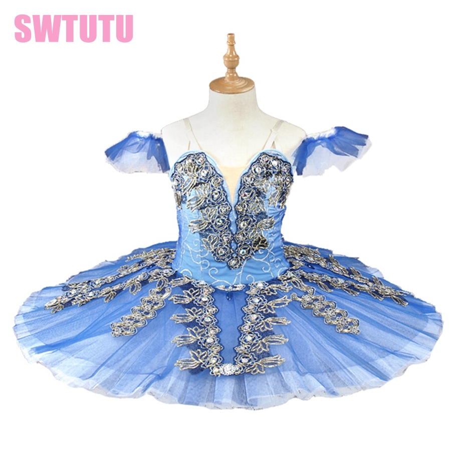 free shipping blue adult or child women  professional classical ballet tutu girls ballerina competition costume dance BT9166