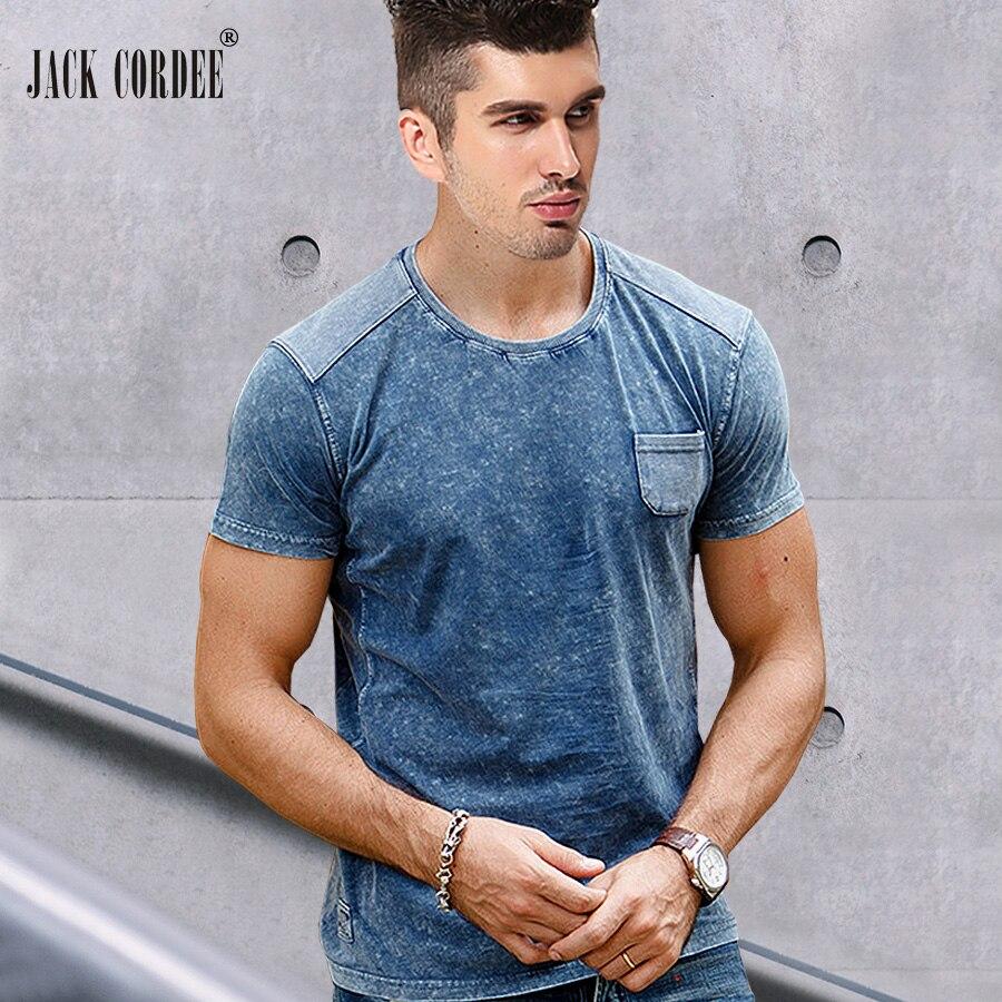 JACK CORDEE 2017 Summer New   T  -  Shirt   Solid 100% Cotton Tshirt Slim Short Sleeve Tee   Shirt   Casual Patchwork Tops Brand   T     Shirt   Men