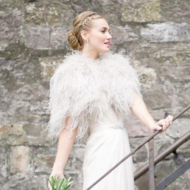 argent de luxe dhiver de fourrure dautruche plume manteaux de mariage bolros 2017 marie soire vestes capes boda chaquetas a - Bolero Plume Mariage
