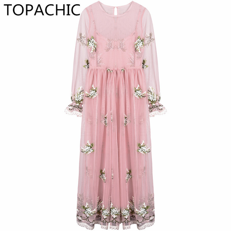 6c81aaa328436 Lining+Dress Newest Fashion Mesh Flower Floral Embroidery Runway Maxi Women  Black Bohemia Beach Perspective Long Dress-in Dresses from Women's ...