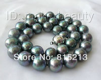 N1257 stunning big 12 13mm perfect round black freshwater pearl necklace silver % Discount AAA