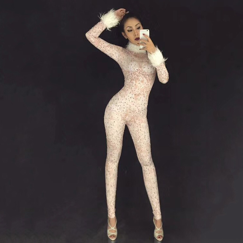 Woman Clothing Dance Costumes Women Nightclub Stage Costume DJ DS Singers Jumpsuit Sparkling Crystals Feather Sleeve