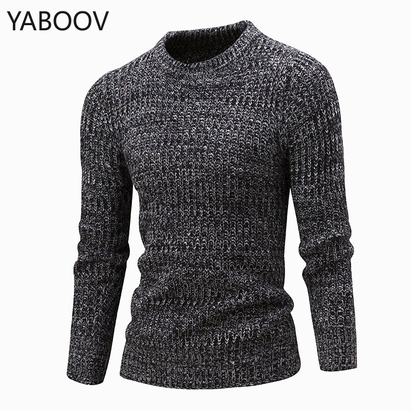 Men's Autumn Cotton Knit Pullover Sweaters Outwear Fashion Warm Boutique Slim O-neck Long-sleeved Bottoming Sweater M-2XL