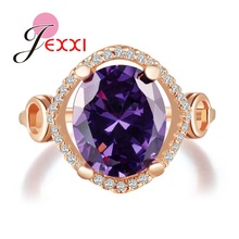 JEXXI Luxury Purple Cubic Zircon Crystal Women Rings For Wedding Jewelry Wholesale  Rose Gold Color Engagement Finger Rings