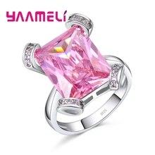 Женское ювелирное изделие из серебра 925 пробы, с крупным розовым кристаллом