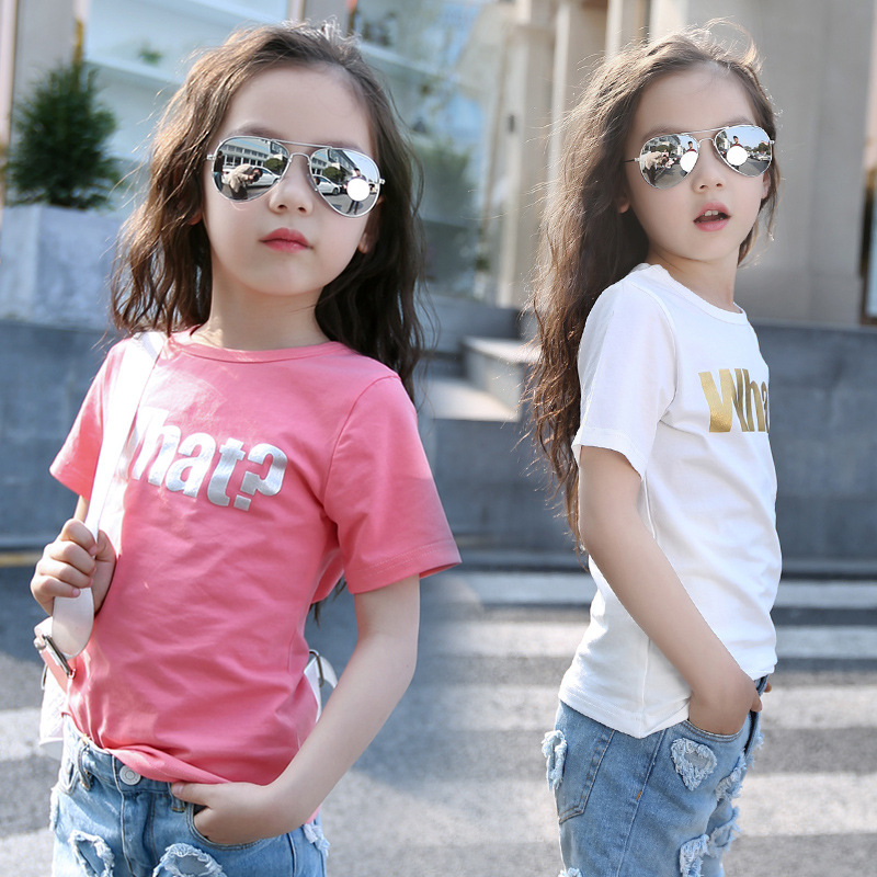New Summer T-Shirts For Girls Korean Childrens Clothing Foil Print Letters O-Neck Tees Short Sleeved Tshirts Child Clothes