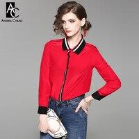 Printemps été femme chemisier noir blanc bande motif col center noir manchette noir rouge chemise de soie de mode bureau blouse