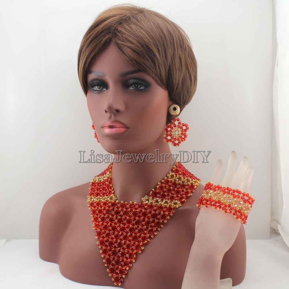 Amazing Chunky Statement Bib Red/ Indian Bridal Women Jewelry Set African Necklace Set for Wedding Free shipping HD8203