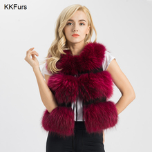 JKKFURS 2019 New Arrivals Real Fur Vest Women Genuine Raccoon Gilet Waistcoat Winter Fashion 3 Rows S1150SJ