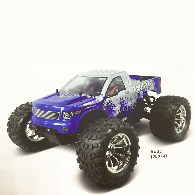 HSP Racing 1/10 Scale Model Nitro Power 4wd Off Road Monster Truck 94188 Pivot Ball Suspension Two Gears High Speed Hobby Rc Car image