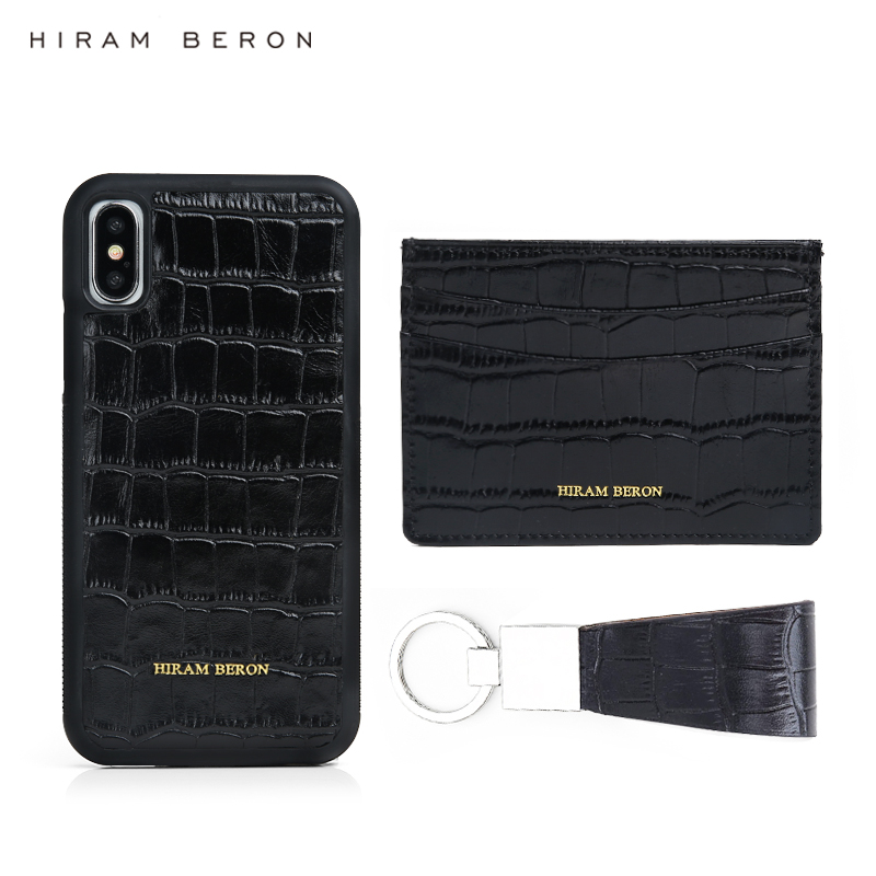 Hiram Beron nom personnalisé support de carte de téléphone motif Croco cadeau d'affaires de luxe en cuir cadeau de noël livraison directe