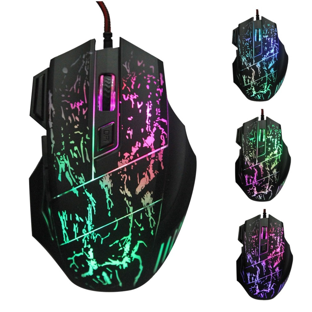 Hot New X4 7 Keys LED Optical USB Wired Gaming Mouse Luminous Home Office Business For PC Computer Laptop 1000-2400DPI Black