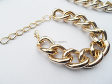 {2019 new model big & chunky chain bracelet, hot selling aluminum big & chunky link bracelet jewelry gold or silver plated