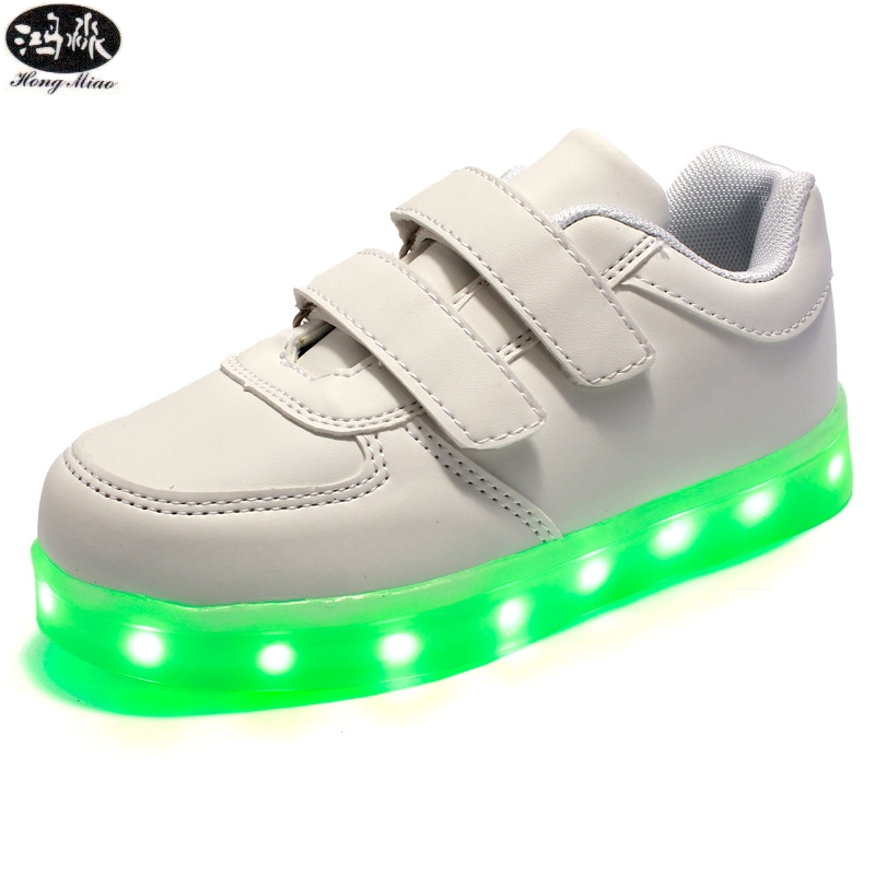Children Shoes Led Glowing Sneakers Kids Light Up 7 Colors USB Solid Color Casual Shoes Luminous Sole Girls Boys Sneaker 25 40 size usb charging basket led children shoes with light up kids casual boys