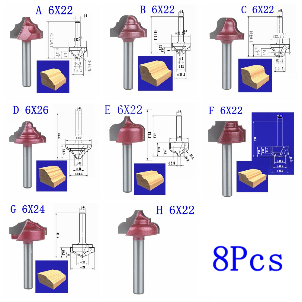 6mm Shaft diameter,8 models CNC machine milling cutter,solid Carbide end mill,cabinet and door frame knife,woodworking tool,MDF
