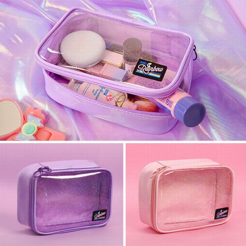 Transprent Moon Rainbow Bentoy Cosmetic Case PVC Storage Package Waterproof Girls Large Capacity Make Up Bag Women QT3311