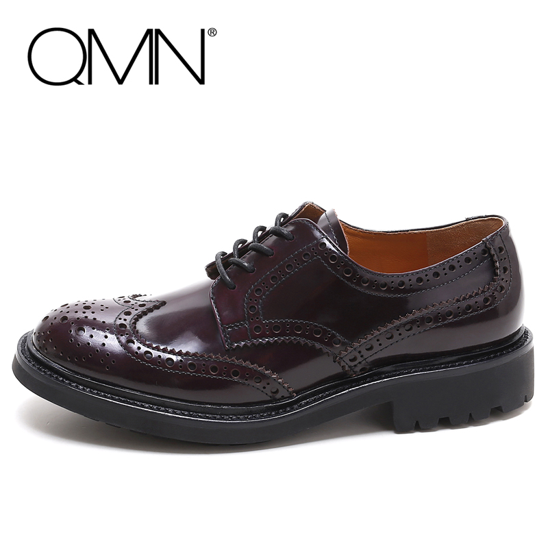 QMN women genuine leather flats Woman Glossy Leather Brogue Shoes Lace Up Leisure Shoes Woman Leather Oxfords Zapatos Mujer qmn women brushed leather platform brogue shoes women round toe lace up oxfords flat casual shoes woman genuine leather flats