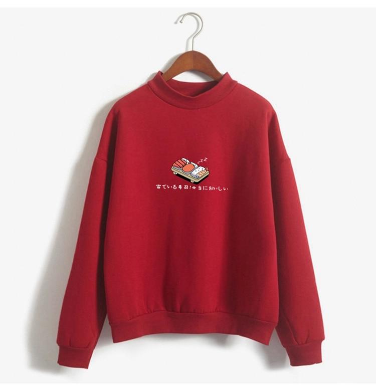 Women Hoodies 19 Autumn Winter Sweatshirts Cartoon Kawaii Sushi Japanese Print Fleece Loose Moletom Feminino Harajuku Pullover 5