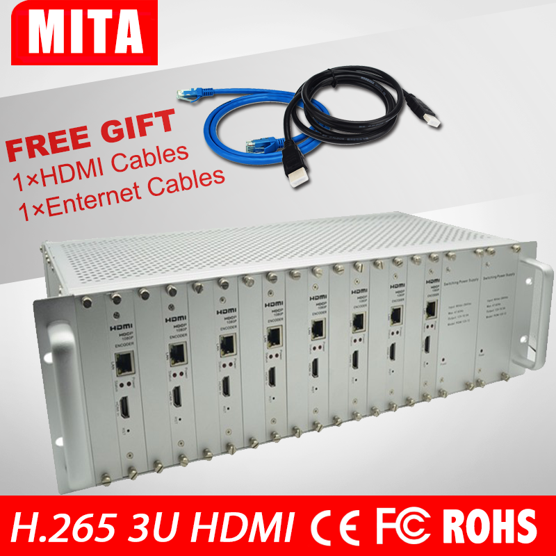 DHL Free Shipping 8 Channels HDMI Encoder IPTV H.265 /H.264 Hardware HD Video To IP Encoder Support HTTP, RTSP, RTM 80 channels hdmi to dvb t modulator hdmi extender over coaxial