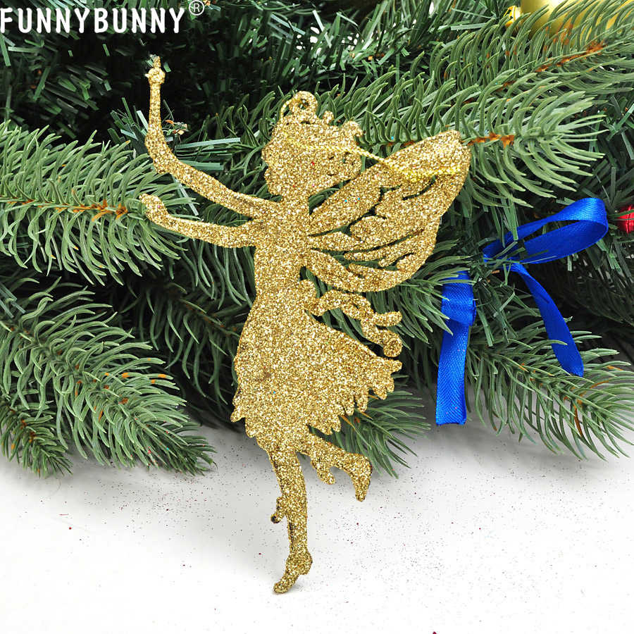 FUNNYBUNNY Christmas Glitter Fairy Memory Angel Ornaments Xmas Tree Hanging Decor