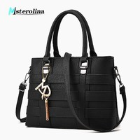 Misterolina Women casual totes leather handbag Tassel ornaments messenger crossbody bags lager capacity Ladies party purse bags