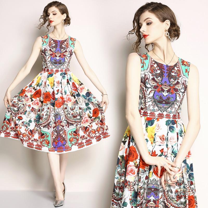 Fashion: 2018 Summer Women Flower Print Dress Feminine Fashion