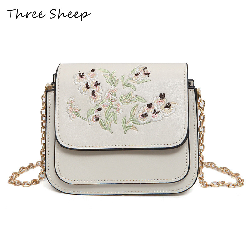 Summer Flower Shoulder Bag Women Embroidery Handbags 2017 Pu Chain Crossbody Bags White Small Sling Schoudertas Dames In From Luggage