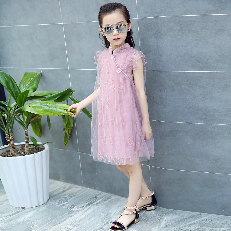 Abreeze New 2017 Summer girls dresses vintage cheongsam style Princess Lace Aline dress for 3-13 years teen girl holiday clothes maytoni classic 2 cl0018 02 r