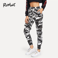 ROMWE Camo Print Ring Detail Belted Utility Pants 2019 Camouflage Spring Autumn Mid Waist Crop Pants Zipper Fly Women Trousers