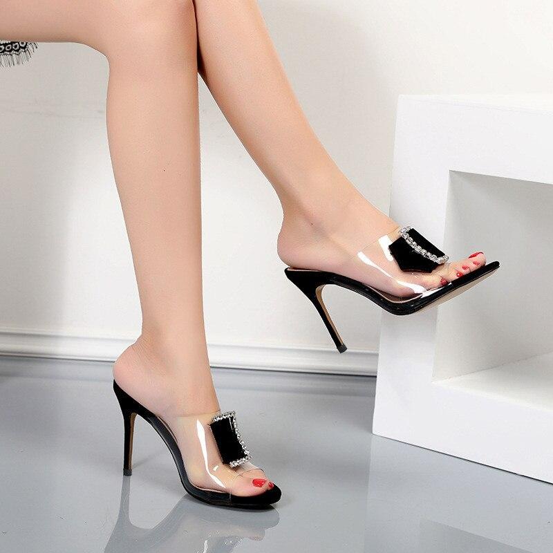 2019 летние прозрачные тапочки с открытым носком из ПВХ; женские шлепанцы на тонком каблуке с пряжкой и кристаллами; модная верхняя одежда; женская обувь - 2