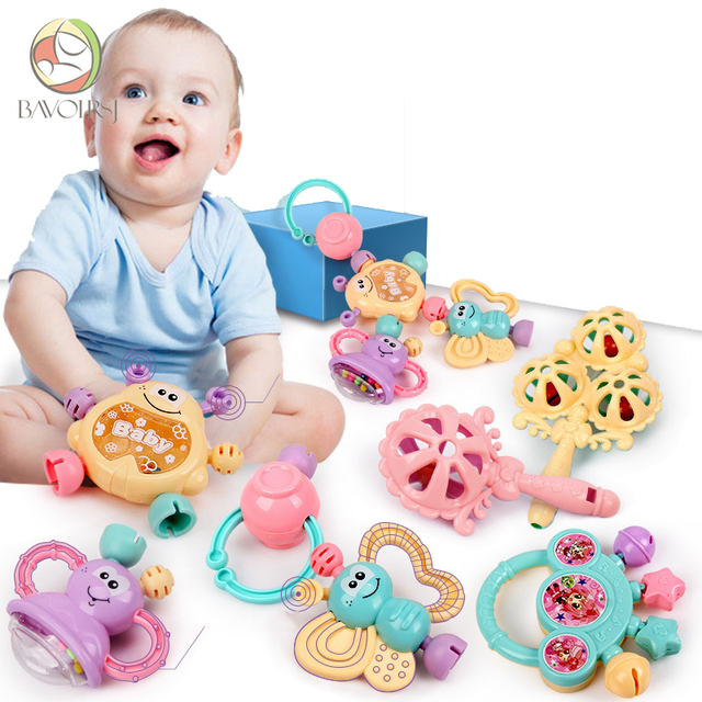 7 pc/lot de Montessori educativos juguetes del bebé desarrollo sonajero pelota móviles de cuna para niños T0386