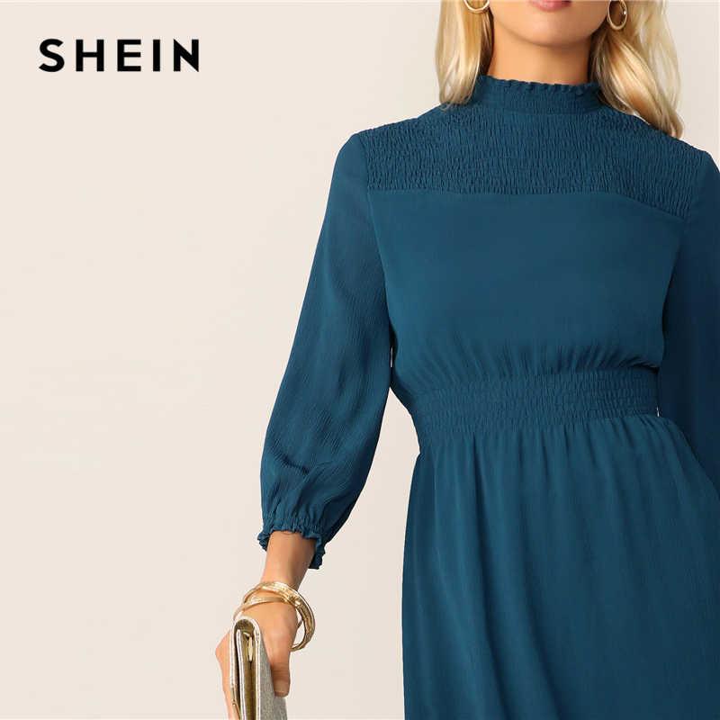 SHEIN Classy Blauw Franje Hals Gesmokt Juk en Taille Midi Vrouwen Jurk Lente Herfst 2019 Keyhole Back Office Lady Elegante jurken