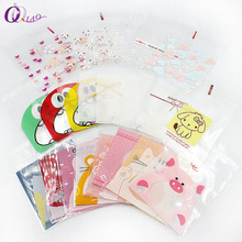 7*7cm 100ps/set Multicolor Self-adhesive Plastic Gift Food Packing bag Cute Small Biscuit bag for candy Packing,cookie packing