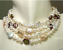 "816 Free Shipping aaa00649+++Noblest genuine 3Color sea south coin pearl necklace long 70""inch(China)"