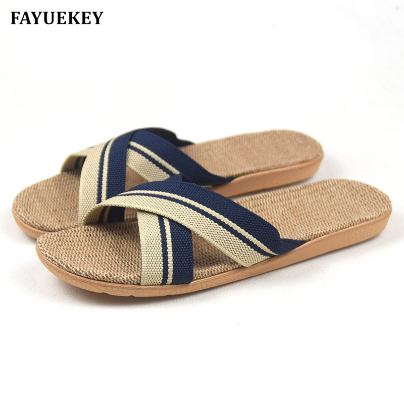FAYUEKEY Summer Home Striped Cross Linen Non-slip Breathable Slippers Men Indoor\Floor Beach Boys Open-Toed Slippers Shoes fayuekey 2018 new fashion summer home linen non slip breathable slippers men indoor floor outdoor beach boys flat slides shoes